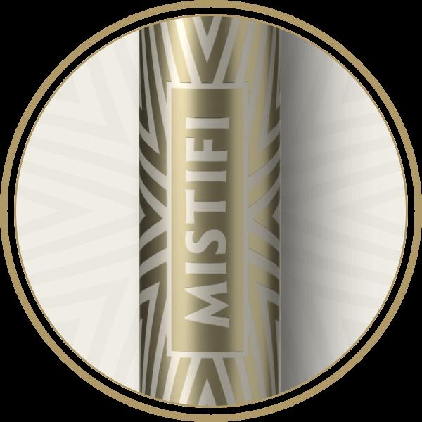 MISTIFI Premium Cannabis Vape Pen Inscribed Metallic Barrel close up