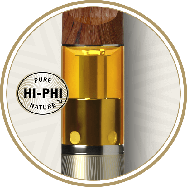 Hi-Phi Pure Nature logo and close up of golden oil and sandalwood mouthpiece