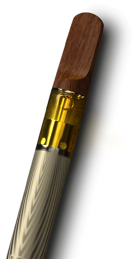 MISTIFI Premium Cannabis Vape Pen close up of oil and sandalwood mouthpiece